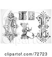 Royalty Free RF Clipart Illustration Of A Digital Collage Of Black And White Letters I Version 2