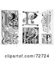 Royalty Free RF Clipart Illustration Of A Digital Collage Of Black And White Letters P Version 3