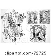 Royalty Free RF Clipart Illustration Of A Digital Collage Of Black And White Letters N Version 3