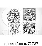 Royalty Free RF Clipart Illustration Of A Digital Collage Of Black And White Vintage Letters A Version 2