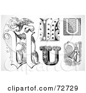 Royalty Free RF Clipart Illustration Of A Digital Collage Of Black And White Letters U Version 3 by BestVector