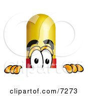 Clipart Picture Of A Medicine Pill Capsule Mascot Cartoon Character Peeking Over A Surface