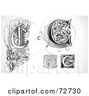 Royalty Free RF Clipart Illustration Of A Digital Collage Of Black And White Letters C Version 2