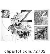 Royalty Free RF Clipart Illustration Of A Digital Collage Of Black And White Letters Z Version 2