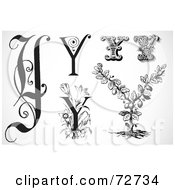 Royalty Free RF Clipart Illustration Of A Digital Collage Of Black And White Letters Y Version 3