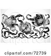 Royalty Free RF Clipart Illustration Of A Black And White Tulip Border Design Element by BestVector