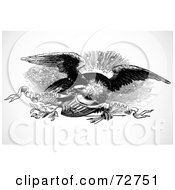 Royalty Free RF Clipart Illustration Of A Black And White Eagle Flying With A Shield Arrows Leaves And Banner by BestVector