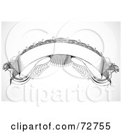 Royalty Free RF Clipart Illustration Of A Blank Black And White Arched Intricate Banner by BestVector