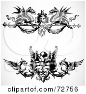 Royalty Free RF Clipart Illustration Of A Digital Collage Of Black And White Ornate Dragon Border Design Elements Version 1
