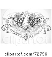 Royalty Free RF Clipart Illustration Of A Black And White Angel Border Design Element by BestVector