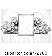 Royalty Free RF Clipart Illustration Of A Black And White Sign With Daisies by BestVector