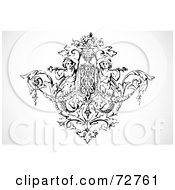 Royalty Free RF Clipart Illustration Of A Black And White Angel And Floral Element by BestVector