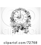 Royalty Free RF Clipart Illustration Of A Black And White Wall Clock With Flowers