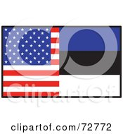Royalty Free RF Clipart Illustration Of A Half American Half Estonia Flag