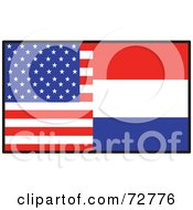 Royalty Free RF Clipart Illustration Of A Half American Half Holland Flag