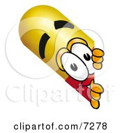 Clipart Picture Of A Medicine Pill Capsule Mascot Cartoon Character Peeking Around A Corner