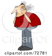 Royalty Free RF Clipart Illustration Of A Caucasian Man Covering His Steaming Ears