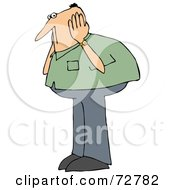 Royalty Free RF Clipart Illustration Of A Caucasian Man In A Green Shirt Covering His Ears