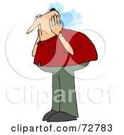 Royalty Free RF Clipart Illustration Of A Caucasian Guy Covering His Steaming Ears