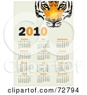 Royalty Free RF Clipart Illustration Of A Black And Orange Tiger 2010 Year Calendar Showing All Months