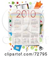 Royalty Free RF Clipart Illustration Of A Year 2010 Calendar With All Months And School Supplies