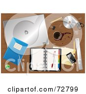 Cluttered Wooden Desk Top With Spilled Coffee A Planner Touch Phone And Other Office Supplies