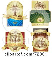Digital Collage Of Elegant Colorful And Golden Sticker Labels With Sample Text