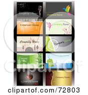 Digital Collage Of Ten Business Card Templates With Sample Text