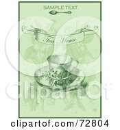 Royalty Free RF Clipart Illustration Of A Vintage Green Tea Menu Cover With Sample Text And A Cup On A Saucer