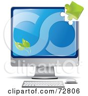 Green Puzzle Piece Above The Corner Of A Green Computer Screen With Leaves