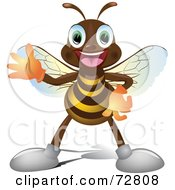 Royalty Free RF Clipart Illustration Of A Happy Little Bee Guy Waving