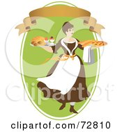 Woman Carrying Breads And Pie On Platters Over A Green Oval With A Blank Banner
