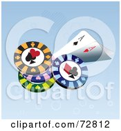 Royalty Free RF Clipart Illustration Of Ace Playing Cards With Poker Chips by Eugene