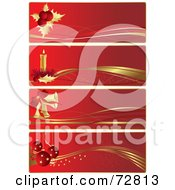 Digital Collage Of Four Red And Gold Christmas Banners