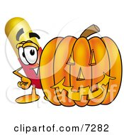 Clipart Picture Of A Medicine Pill Capsule Mascot Cartoon Character With A Carved Halloween Pumpkin