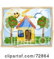 Royalty-Free (RF) Clipart Illustration of a Child Like Drawing Of A Yellow House Under The Sun With Trees by r formidable