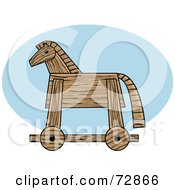 Royalty Free RF Clipart Illustration Of A Wooden Trojan Horse In Profile