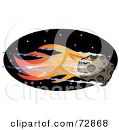 Royalty Free RF Clipart Illustration Of A Flaming Asteroid Flying Through A Black Sky