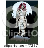 Royalty Free RF Clipart Illustration Of A Sexy Pinup Female Mummy Walking In The Night