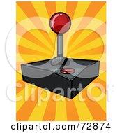 Royalty Free RF Clipart Illustration Of A Joystick Controller On An Orange Burst