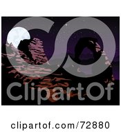 Royalty Free RF Clipart Illustration Of A Night Scene Of A Rock Arch Formation