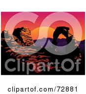 Royalty Free RF Clipart Illustration Of A Dusk Scene Of A Rock Arch Formation