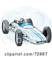 Royalty Free RF Clipart Illustration Of A Blue Forumula One Race Car