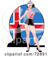 Royalty Free RF Clipart Illustration Of A Sexy Pinup Woman Standing In Front Of An Iceland Flag by r formidable