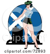 Royalty Free RF Clipart Illustration Of A Sexy Pinup Woman Standing In Front Of A Scotland Flag by r formidable