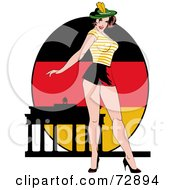 Royalty Free RF Clipart Illustration Of A Sexy Pinup Woman Standing In Front Of A German Flag