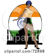 Sexy Pinup Woman Standing In Front Of An Indian Flag