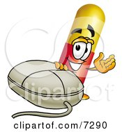 Clipart Picture Of A Medicine Pill Capsule Mascot Cartoon Character With A Computer Mouse