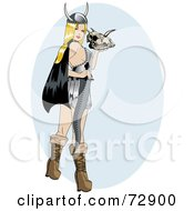 Royalty Free RF Clipart Illustration Of A Sexy Pinup Viking Woman Holding A Skull And Sword