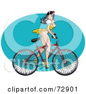Royalty Free RF Clipart Illustration Of A Sexy Pinup Bicycling Woman In A Dress